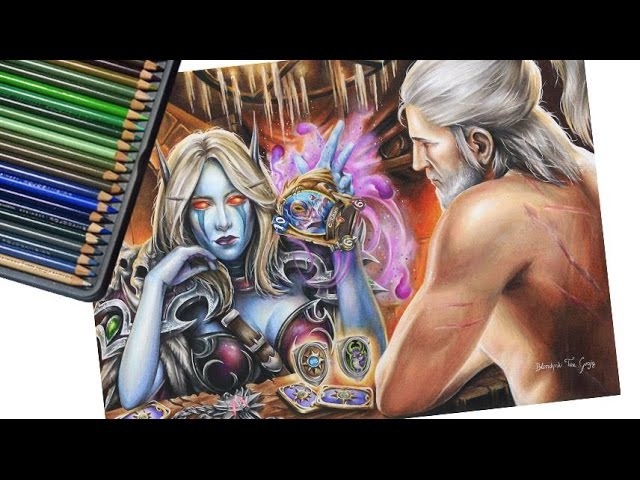 Epic Hearthstone card battle speed drawing! Sylvanas vs Witcher