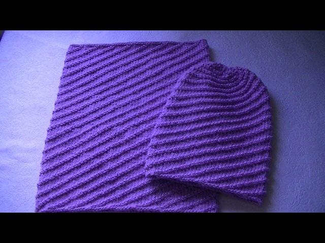 Вязание шапки бини узором по диагонали