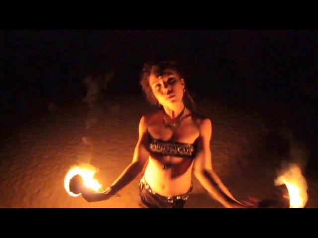 Anya Lesnaya ~ FOREST TRIBE ~ illusory fire dance Vagator beach Goa