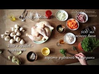 Видео - рецепт- Курица по-французски тушеная в вине с грибами (Coq au vin)
