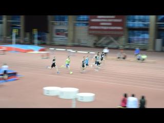 Финал бега на 60 метров среди юниоров 1998-1999 г.р. в Тюмени на матчевой встрече Сибири и Урала 3.12.2016 г