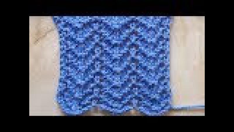 Волнистый узор Вязание спицами Видеоурок 124