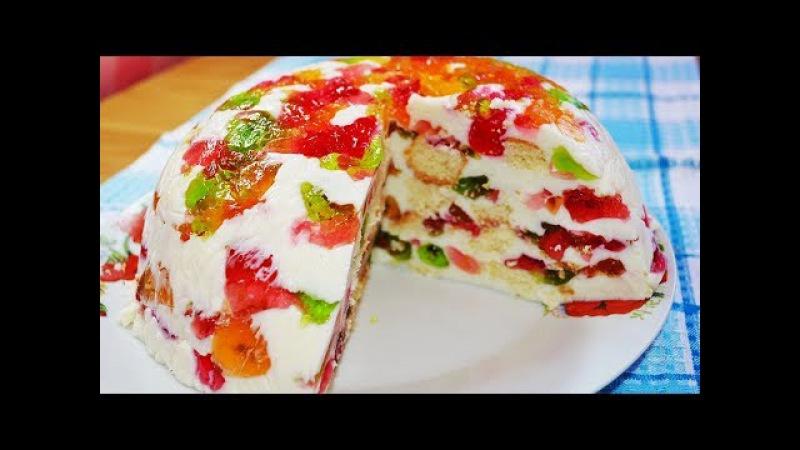 Нежный ЖЕЛЕЙНО-БИСКВИТНЫЙ торт - 2 способа сборки