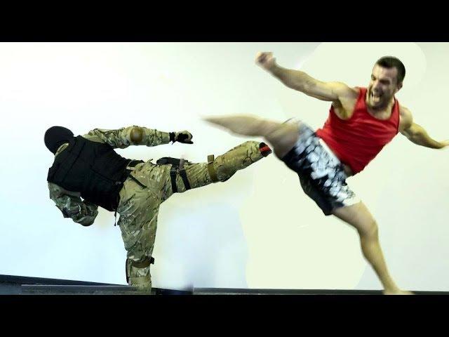 Кикбоксер против инструктора спецназа | Как бить вертушку с ноги