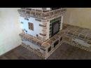 Печь с лежанкой облицована шамотной плиткой