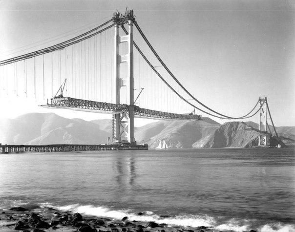 Строительство моста Золотые ворота, Сан-Франциско, 1937.
