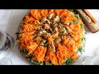 Очень вкусный печёночный торт с грибами и мидиями рецепт