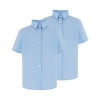 828ea701900 Рубашка голубая с коротким рукавом на девочку 7-8