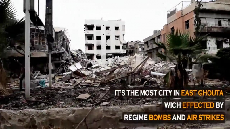 На линии фронта между ССА и шабихой в городе Хараста (Гута Димашк) - репортаж Фираса Абдаллы (2015)