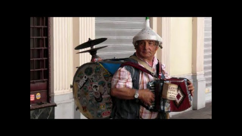 Street Music. One Man Band. Funny and Interesting. Seen in Turin, Italy.