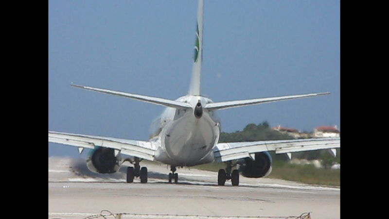 Take off from Skiathos, Greece