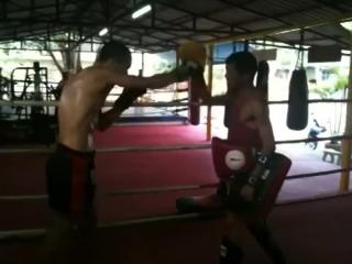 Kru Phon teaching Stefan at Santai Muay Thai