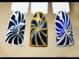 Дизайн ногтей Салют: зимний маникюр_ кошачий глаз блестки