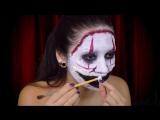 страшный грим клоуна на Хеллоуин, цирк уродов