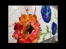 Acrylic Paint Pouring Create Flowers With a Blown Puddle Pour