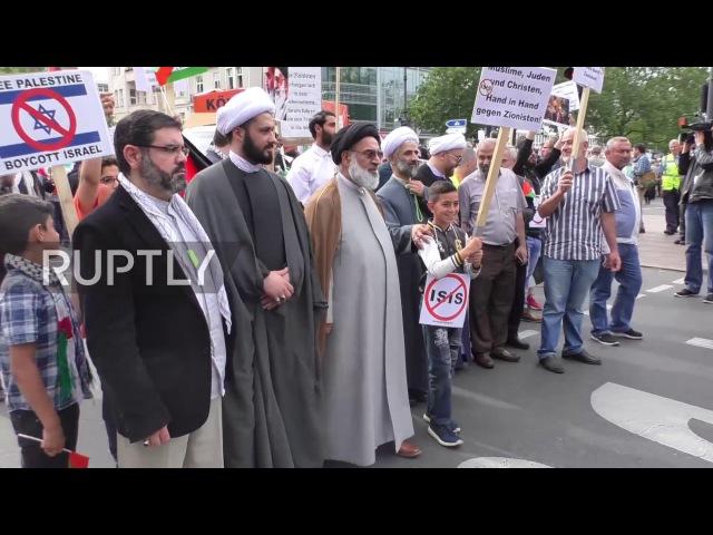Германия: День Аль-Кудс марш встретился встречными протестующими в Берлине.