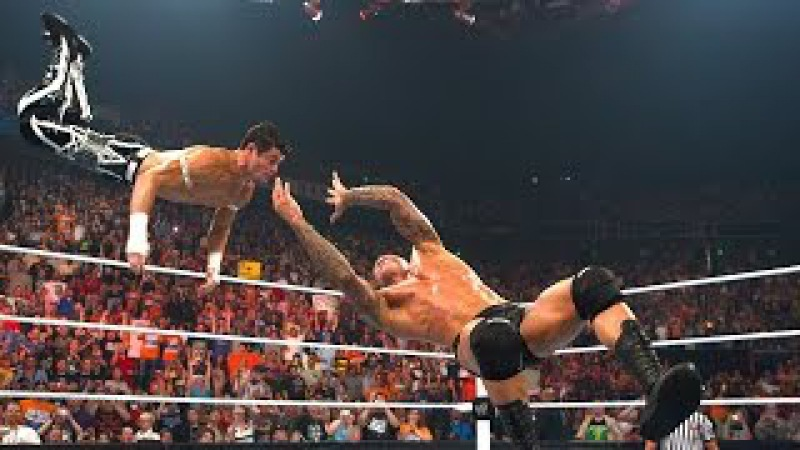 Randy Orton RKOs Evan Bourne in mid air Raw July 12 2010