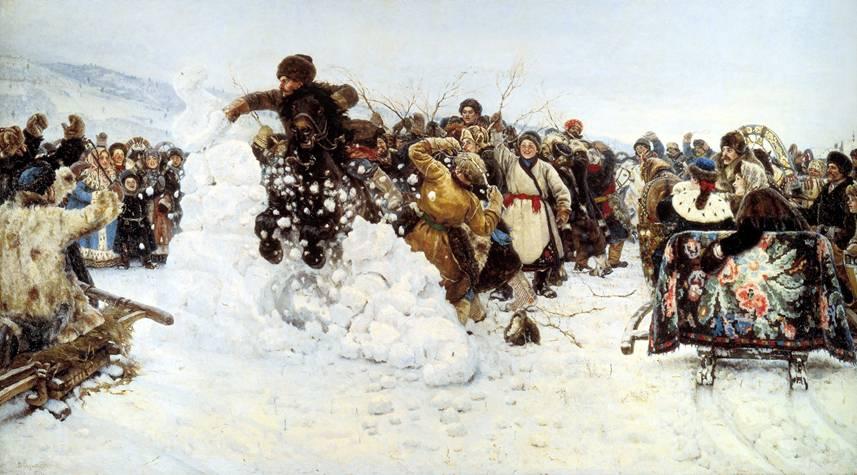 "Картина В.И. Сурикова ""Взятие зимнего городка"""