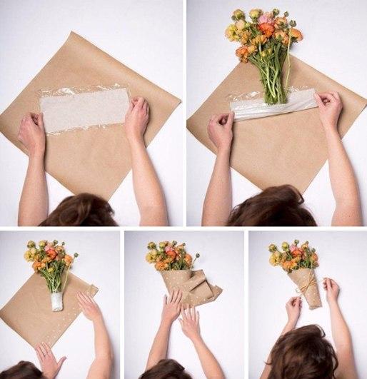Как красиво сделать обертку для цветов из
