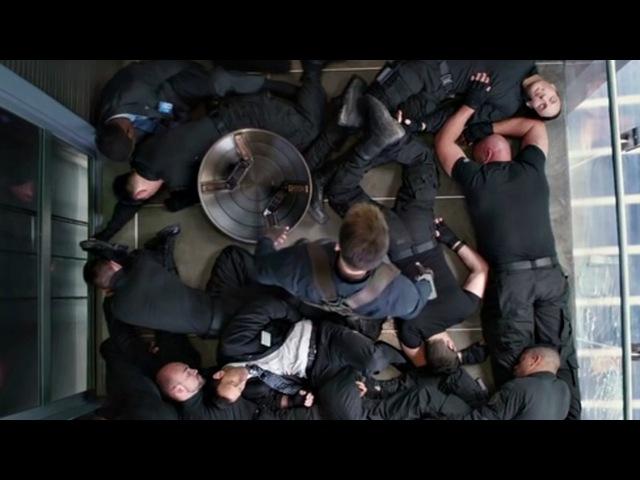 Капитан Америка против боевой команды У.Д.А.Р. Сцена в лифте. Первый мститель: Другая Война / Captain America: The Winter Soldie