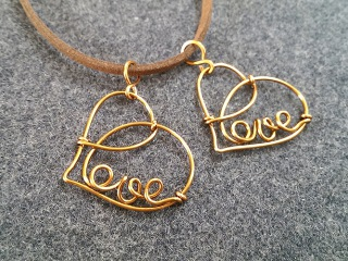 Love heart pendant - How to make wire jewelery 211