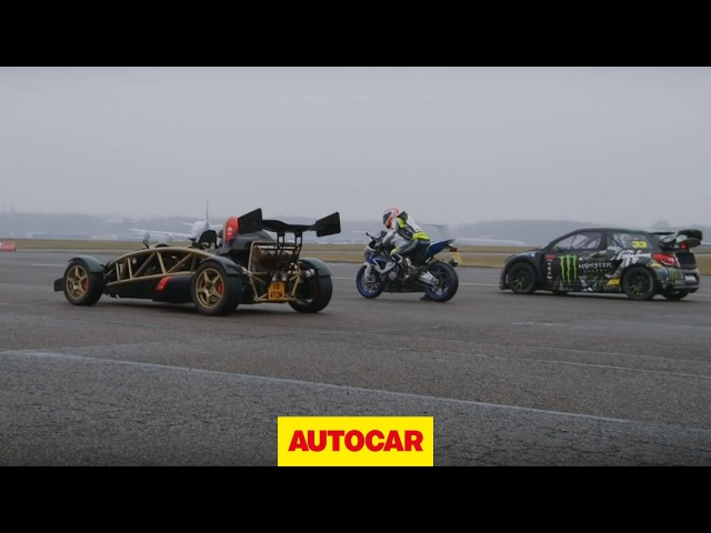 Ariel Atom V8 vs 600bhp rallycross Citroen DS3 vs BMW HP4 superbike drag race