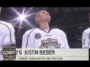 Justin Bieber being introduced at the #NHLAllStar Celebrity shoot-out in California.