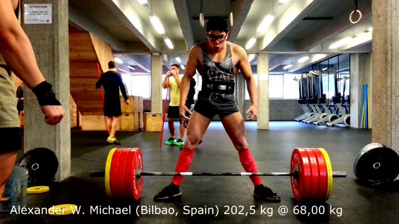 Alexander W. Michael 202,5 kg @ 68 kg (Bilbao, Spain). Team Phalanx Eroica