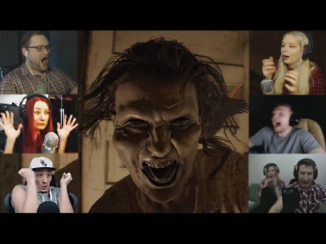 Реакции Летсплейщиков на Скример Маргарет из Resident Evil 7