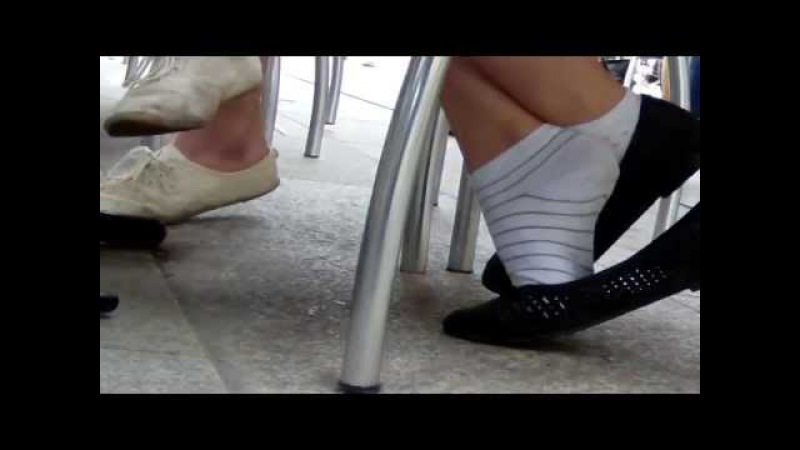 Candid shoeplay white socks and flats part 1