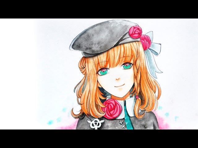 Как нарисовать аниме девушку акварелью (Амнезия) How to draw heroine from anime Amnesia