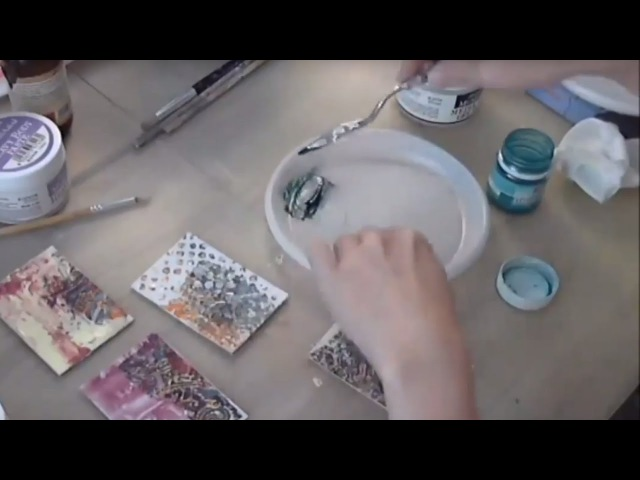 Пигменты в микс медиа и декупаже видео урок Натальи Жуковой с обменными карточками художника