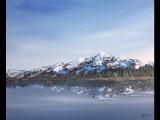 Акрил. Отражение и заснеженные горы.Acrylic.Reflections and Snow on the mountains