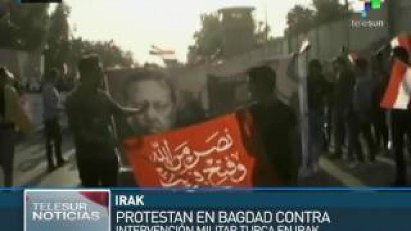 Iraquíes protestan contra la intervención militar de Turquía