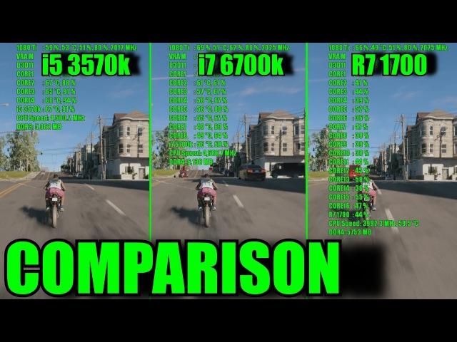 11 GAMES GTX 1080 Ti OC Ryzen 7 1700 - i7 6700k - i5 3570k | 1080p | FRAME-RATE TEST COMPARISON