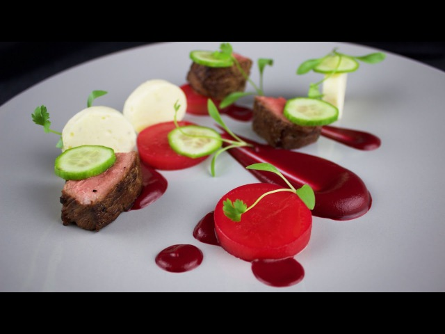 Plating Food Techniques - Lamb, beetroot, cucumber, goat's cheese