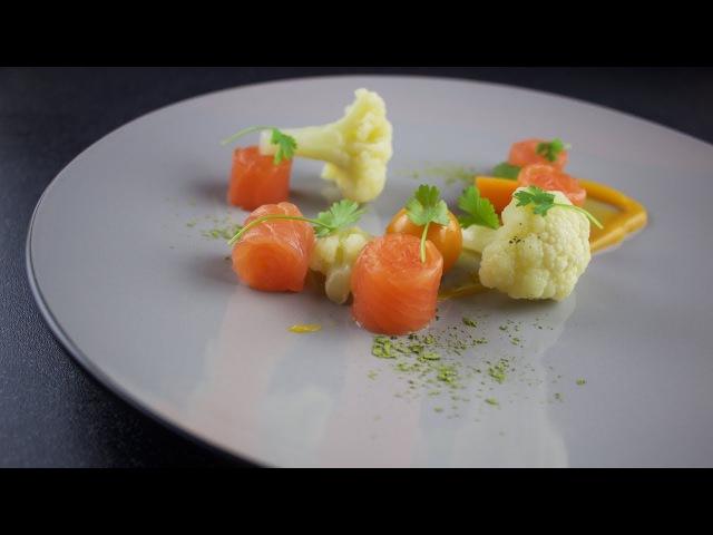 Plating Food Techniques - Smoked salmon, orange puree, cauliflower, matcha green tea, physalis
