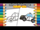 Animated Coloring Pages, Coloring Book How to Draw Cute Cartoon Police Car Video for Kids Children