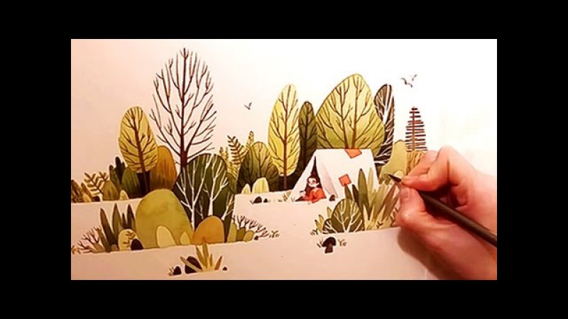 Watercolor Illustration Camping Girl timelapse work in progress painting by Iraville