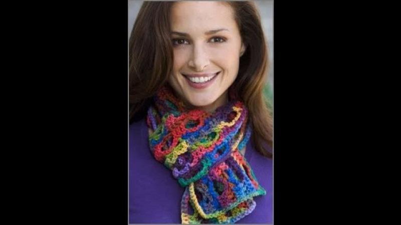 Crochet Side to Side Scarf - Crochet Red Heart Pattern LW2244