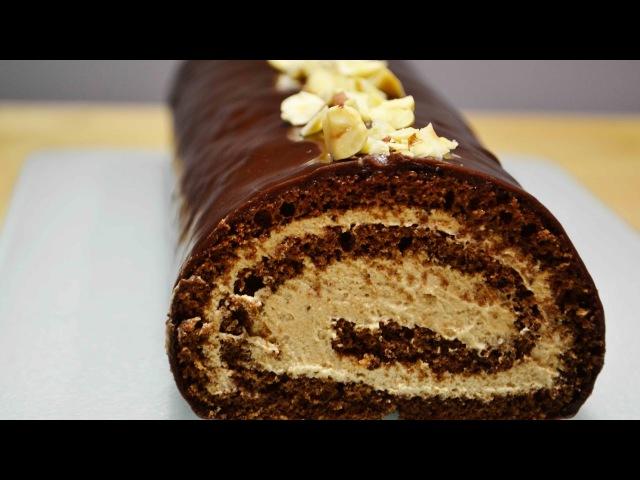 Шоколадный РУЛЕТ с Шоколадным ЗАВАРНЫМ КРЕМОМ Безумно Вкусный Sponge roll