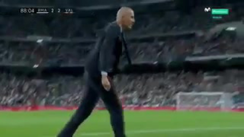 Zidanes reaction to Benzemas miss.