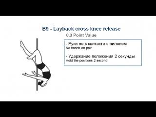 В9 - LAYBACK CROSS KNEE RELEASE - (0.3) - CODE OF POINTS (POSA-Pole Sports & World Arts Federation)