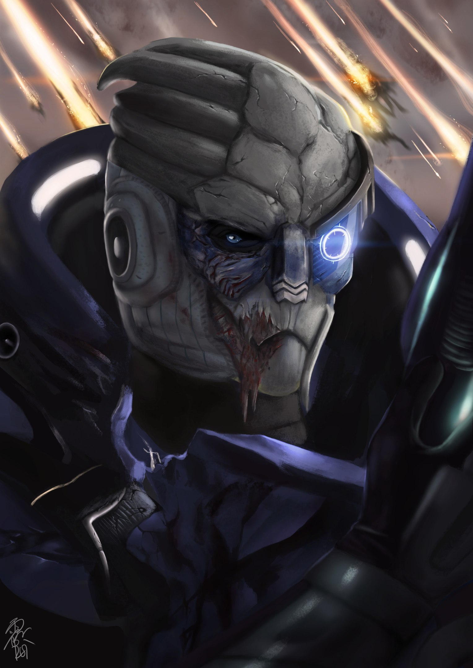 Гаррус калибрует даже в бою (Mass Effect)
