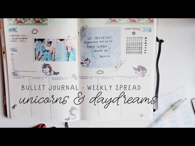Plan with me: unicorns daydreams - weekly spread bullet journal