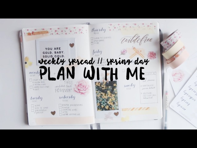 Plan with me: spring day - weekly spread bullet journal