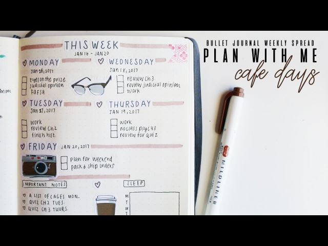 Plan with me: cafe days - weekly spread bullet journal