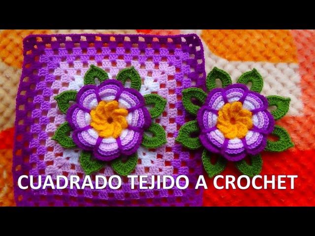 Cuadrado o granny square con flor rosita lila tejida a crochet y hojitas paso a paso