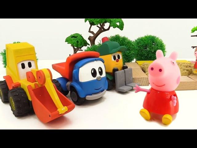 Türkçeizle.Leo, Ekskavatör Max ve Lifty Peppa için oyun alanı yapıyorlar. eğiticivideo