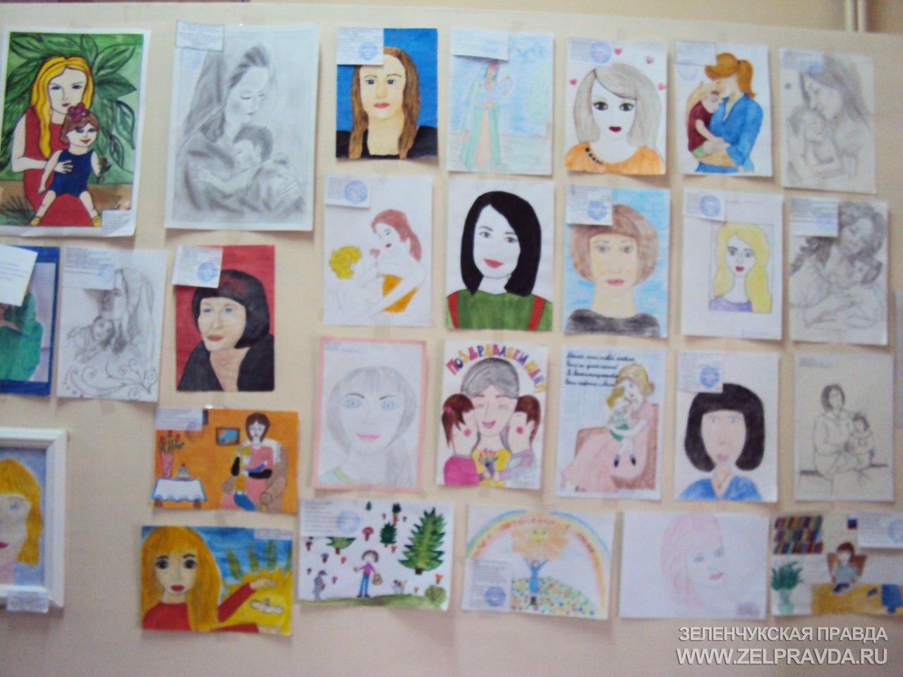 В Зеленчукской прошла выставка рисунков «Больше всех на свете маму я люблю»